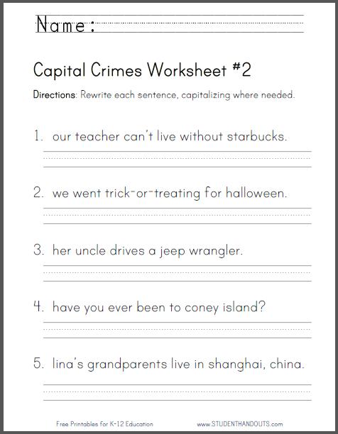 capital crimes worksheet 2 common core for second grade primary grades grammar. Black Bedroom Furniture Sets. Home Design Ideas