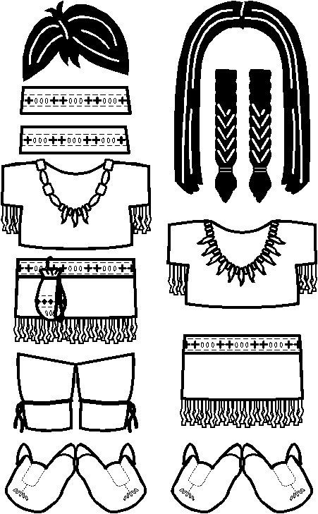 Native American Paper Doll Friends outline | Native ...
