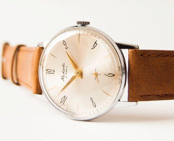 Men's watch Raketa  silver tone wrist watch  brown by SovietEra, $69.00