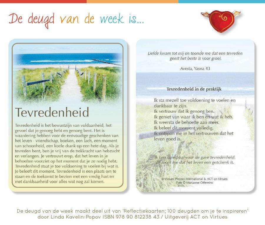 Tevredenheid is de Deugd van de Week, aangeboden door Uitgeverij ACT on Virtues