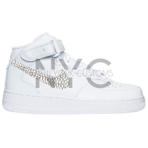 White Nike Air Force 1 Mid Top af1 Women s Swarovski Crystal Accent... ( e6f25b33c