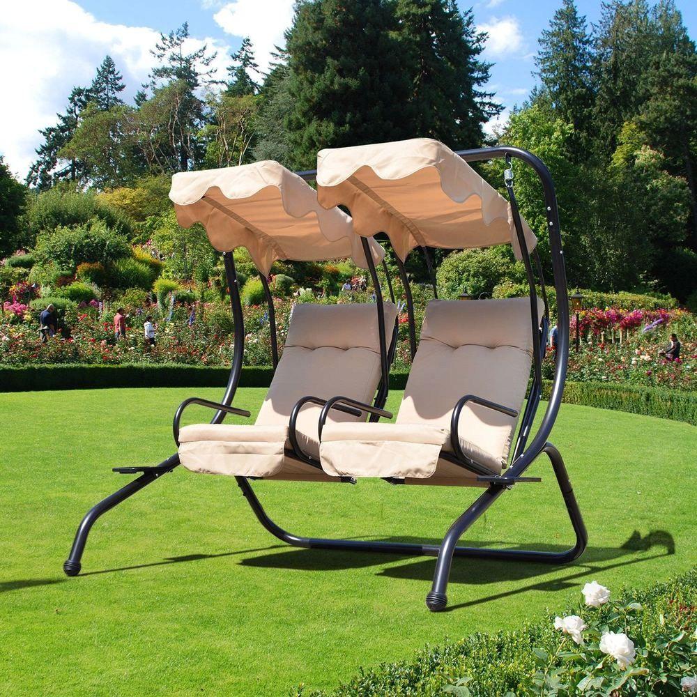 2 Seater Garden Swing Chair Beige Canopy Cushion Steel Frame Outdoor Furniture Garden Chairs Design Garden Chairs Amazing Gardens