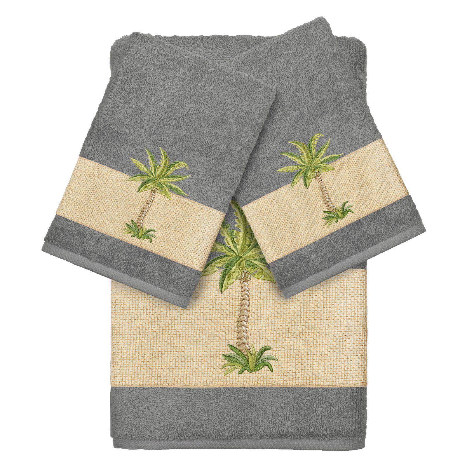 Bath Towels Linum Home Textiles Colton Embellished 3 Set Premium Turkish Cotton