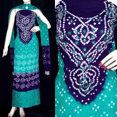 350a8c8cf4 Jaipuri indian bandhini cotton salwar kameez suit material mirror ...