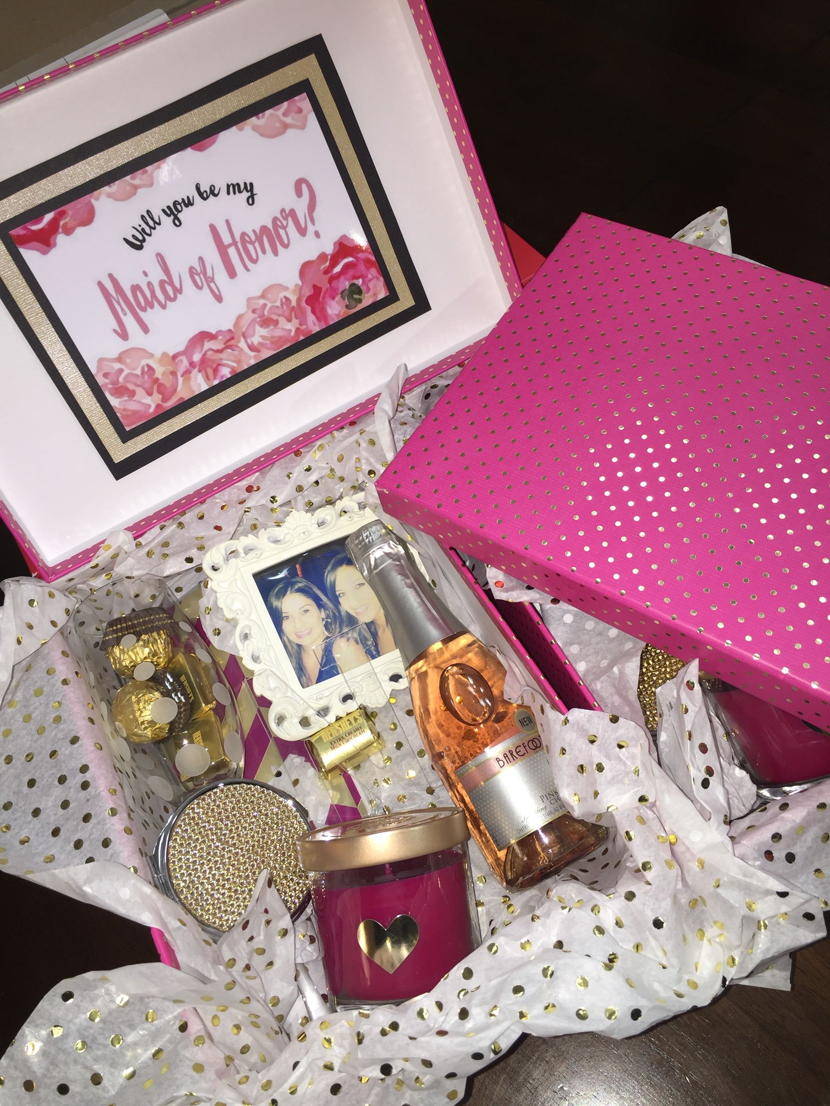 MOH / bridesmaid gift box idea. A perfect way to ask your girls to ...
