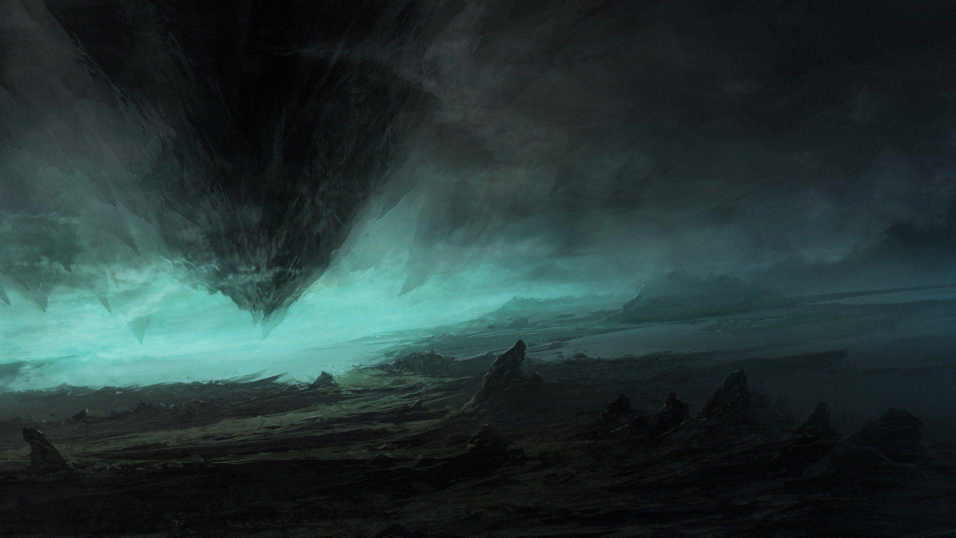 Anime Dark Landscape Wallpapers For Android Monodomo Dark Landscape Digital Artwork Fantasy Digital Art Fantasy