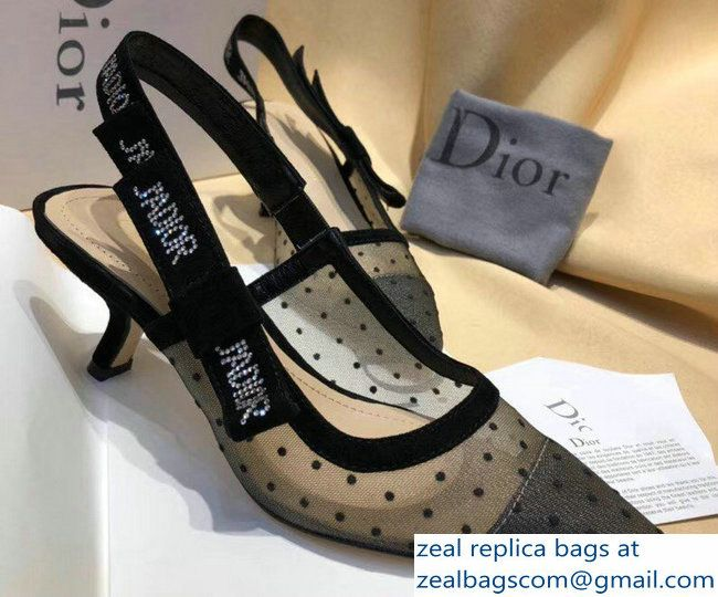 54bf24192de Dior Heel 6cm J  Adior Sling-Back In Nude And Black Dotted Swiss ...