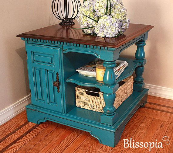 Vintage Two Tone Chunky Side Table Painted U0026 Stained