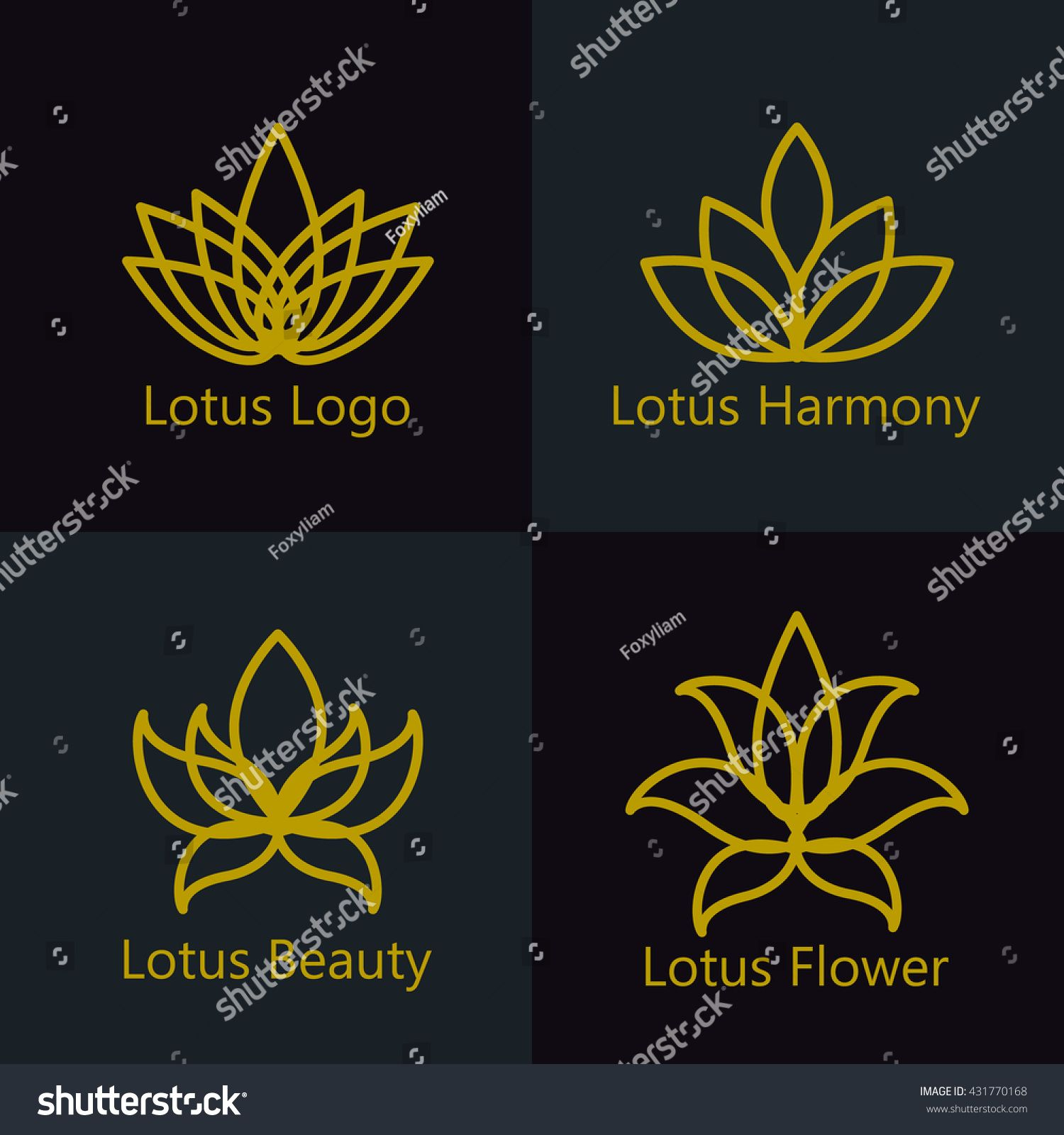 Lotus flower logo assorted icons set. Vector illustration