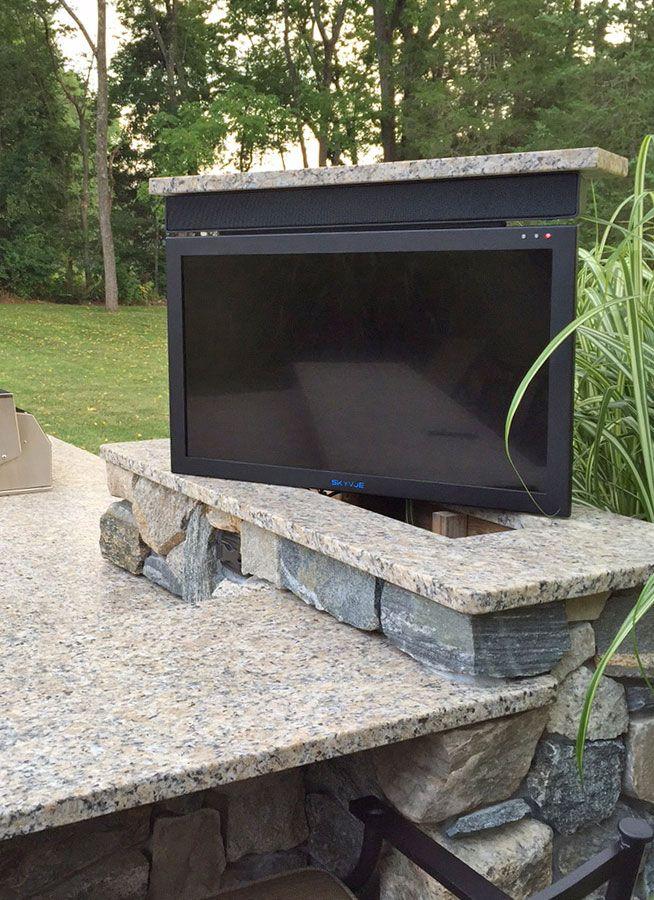 swivel tv lift in 2020 deck tv ideas outdoor stone smart home on outdoor kitchen tv id=16179