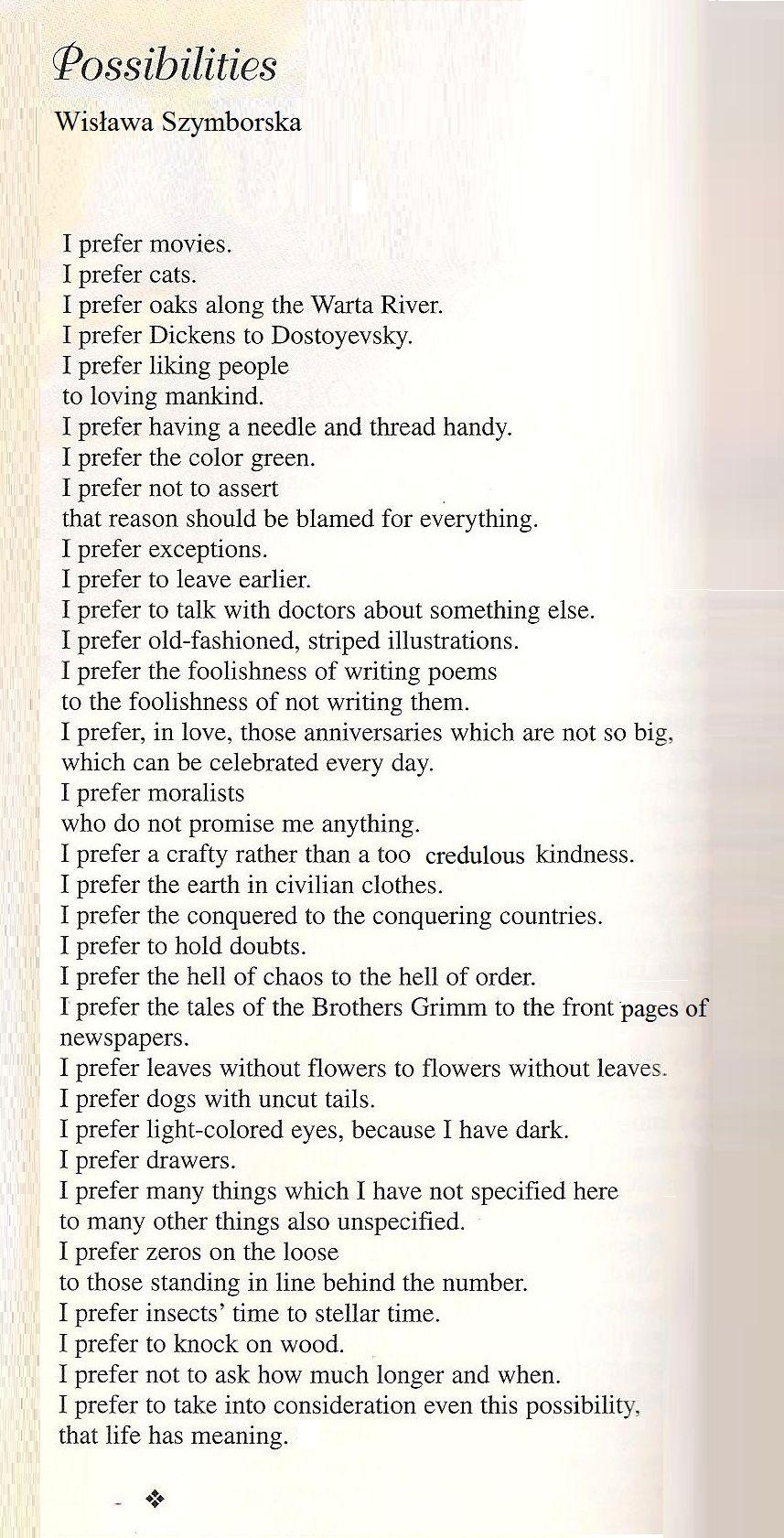 Wisława Szymborska I Prefer The Hell Of Chaos To The Hell Of Order