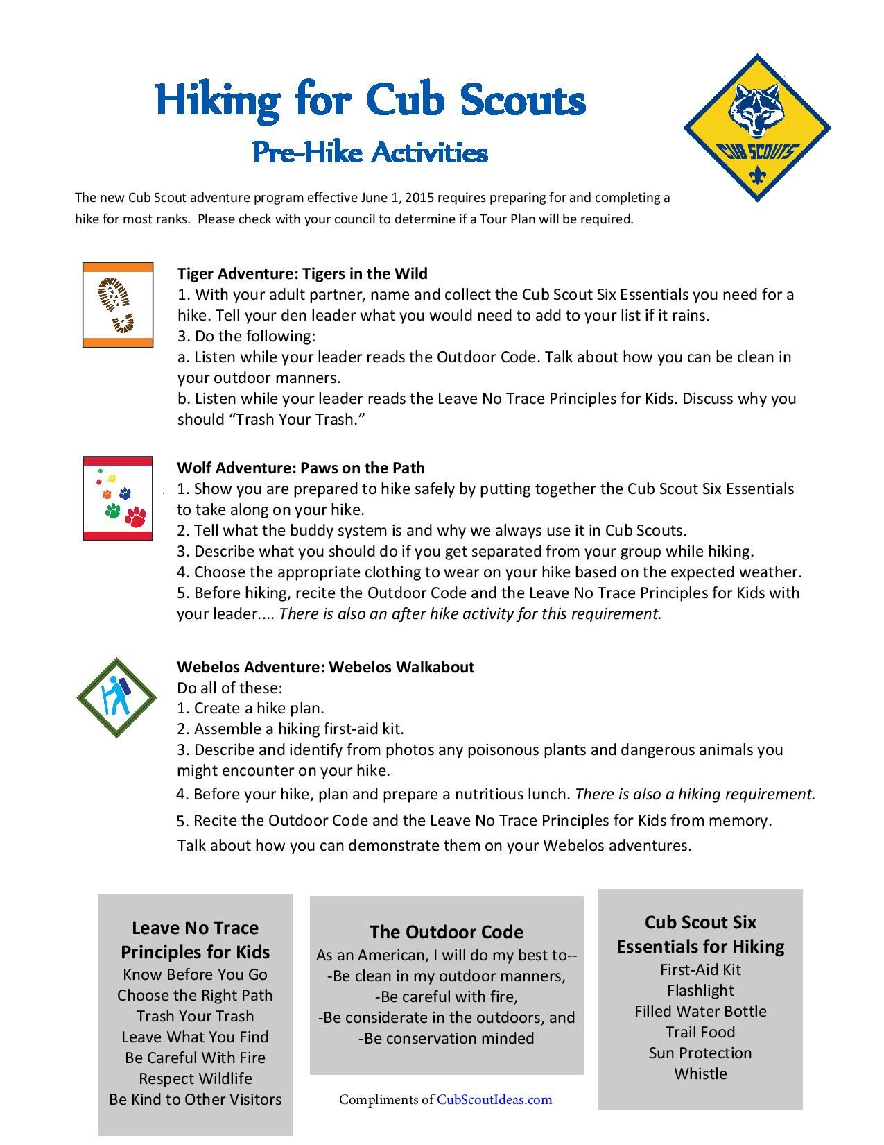 worksheet Hiking Merit Badge Worksheet cub scout hiking wolf and scouts ideas