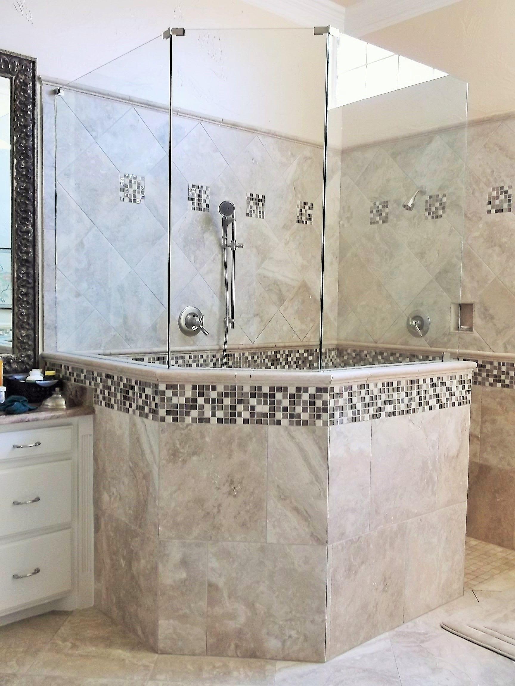 classic bathroom design tan walk in shower with multi colored square tile accents - Multi Bathroom Design