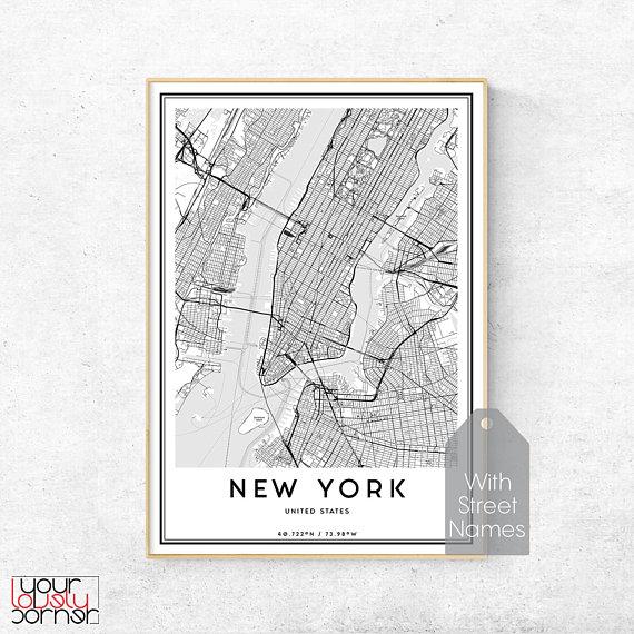 New York City Map Print Manhattan Map Wall Art Map Of New York