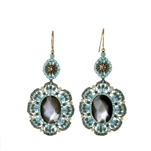 Art Effect Miguel Ases Miguel Ases Ocean Blue Mother of Pearl Earrings - Stylehive