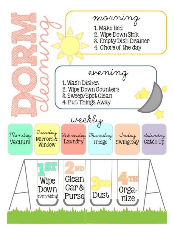 My Dorm Cleaning Schedule  Dorm Cleaning Apartment Cleaning