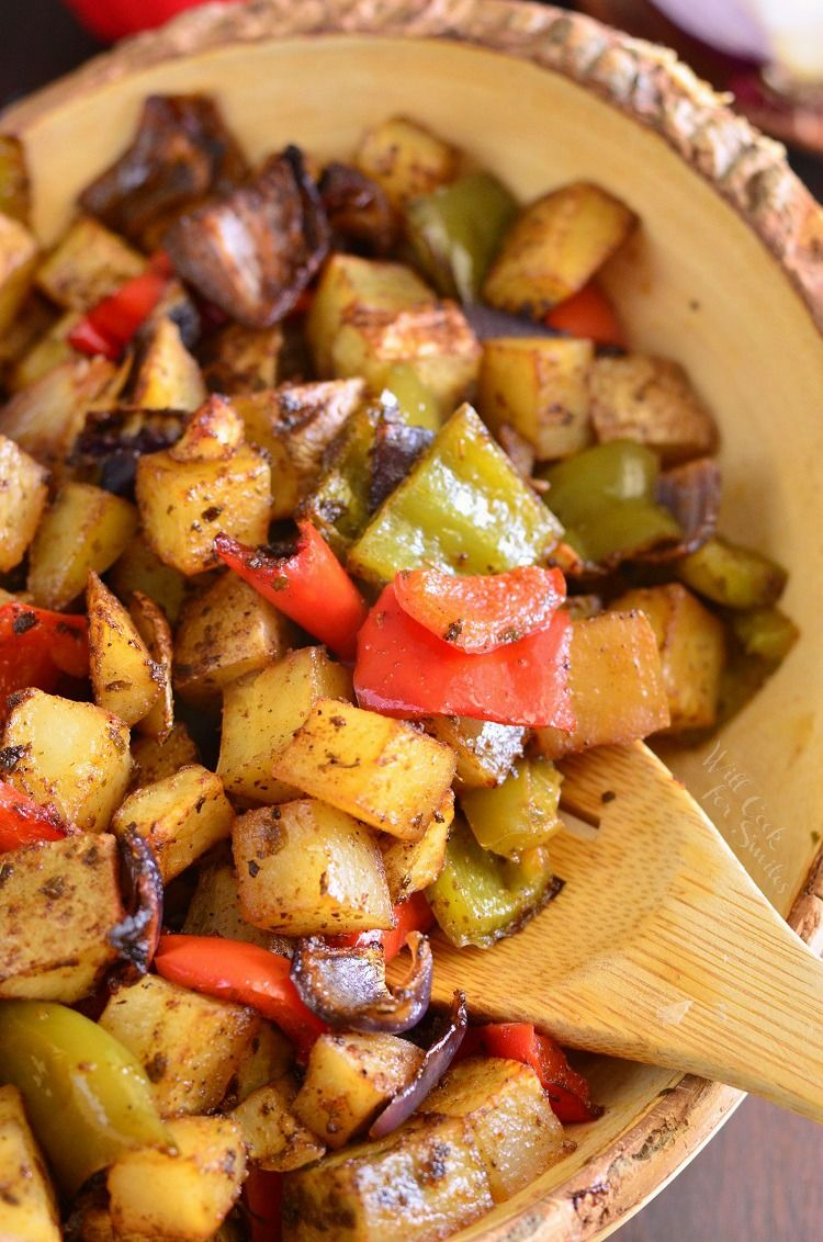 Southwest Roasted Potatoes. These roasted potatoes also have red onion and bell peppers added to them and are beautifully spiced with a southwest spice blend. #bellpepperrecipes
