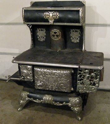 OLD CAST IRON & NICKEL COOK STOVE