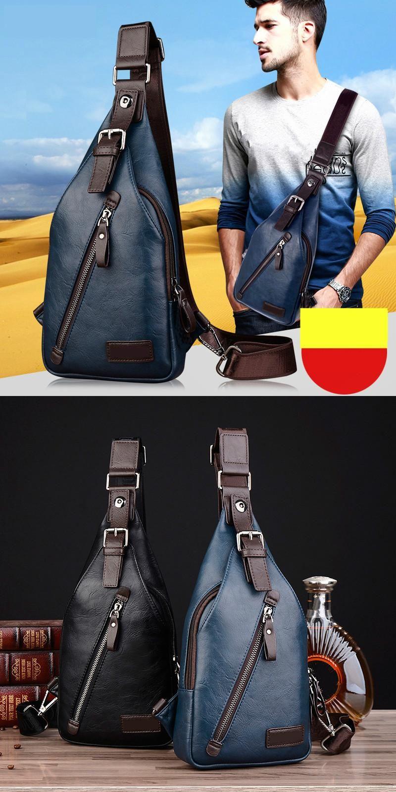 [Visit to Buy] Men Summer Messenger Bag Male Sling Bag Designer Leather Chest Pack Fanny Handbag Fashion Travel Shoulder Bag Casual Mini Bag #Advertisement