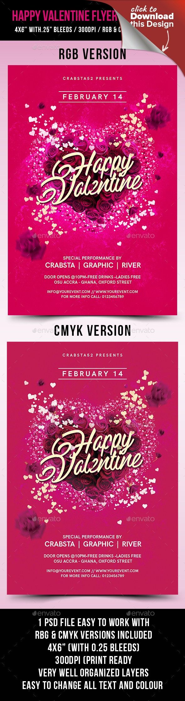 Happy Valentine Flyer Template 2 Flyer Template Template And