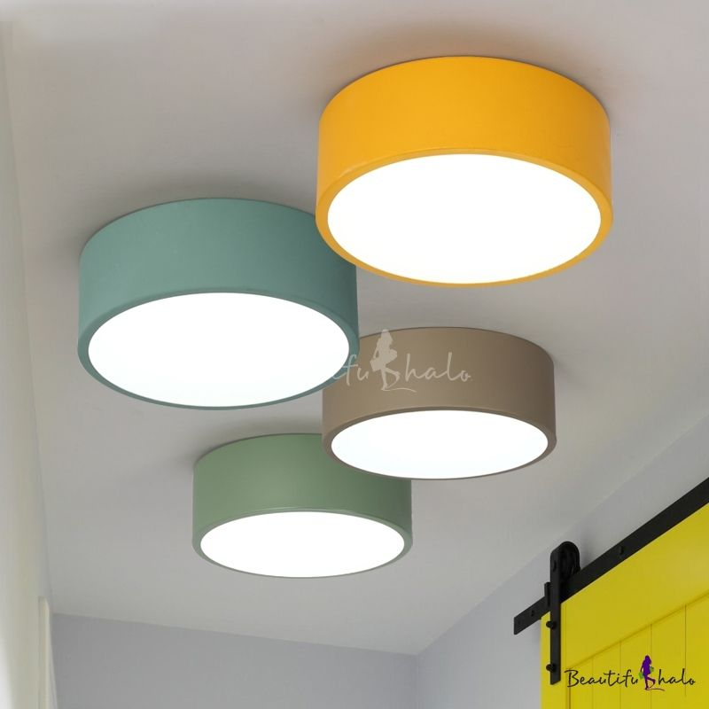 Colorful Macaron Cylinder Flush Mount Metallic Led Ceiling Light For With Images Ceiling Lights Cheap Ceiling Lights Kids Room Lighting