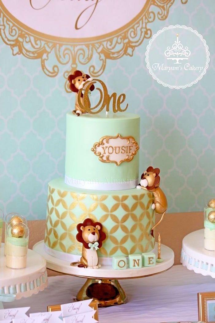 St Birthday Cake From Elegant Baby Lion Birthday Party At Karas - Lion birthday cake design