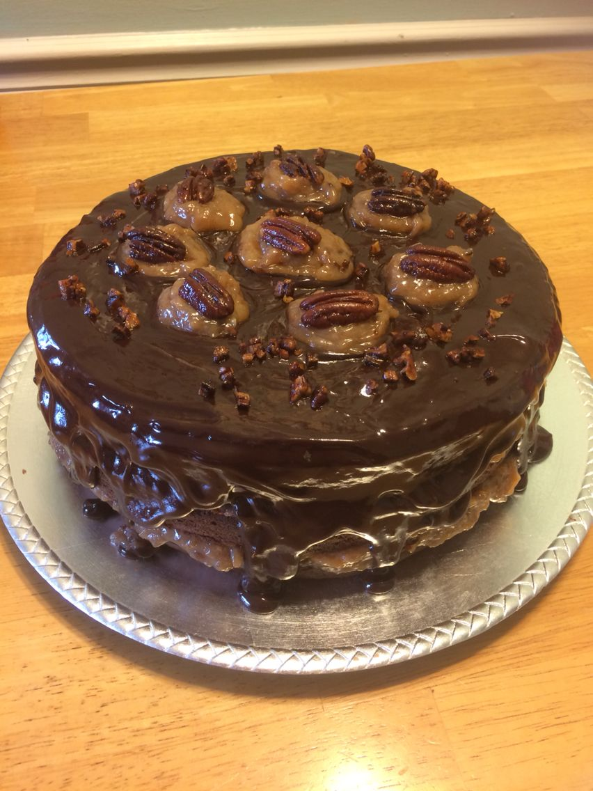 Homemade German Chocolate Cake with chocolate ganache