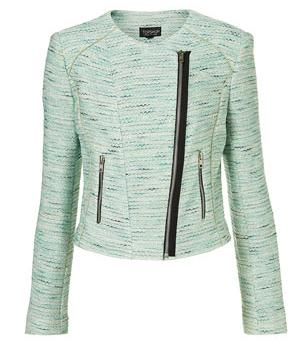 green boucle jacket