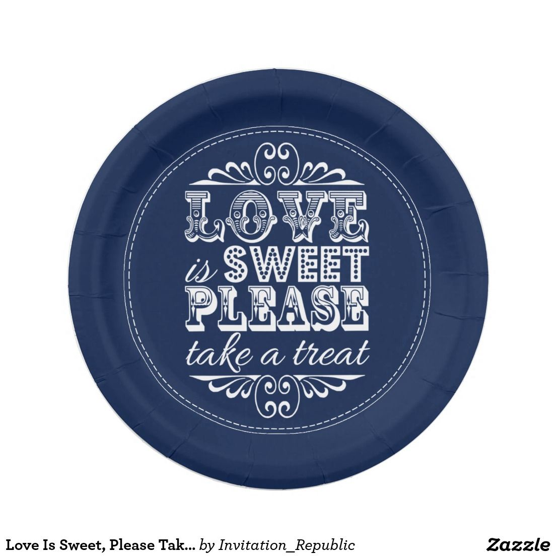 Love Is Sweet Please Take A Treat! Navy Blue Paper Plate  sc 1 st  Pinterest : navy paper plates - Pezcame.Com