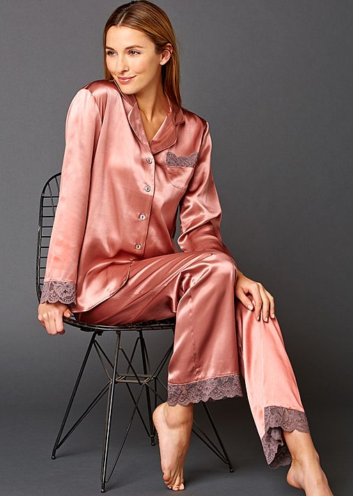 0528ce7d49 Serendipity Pure Silk Pajama - Lace Trimmed