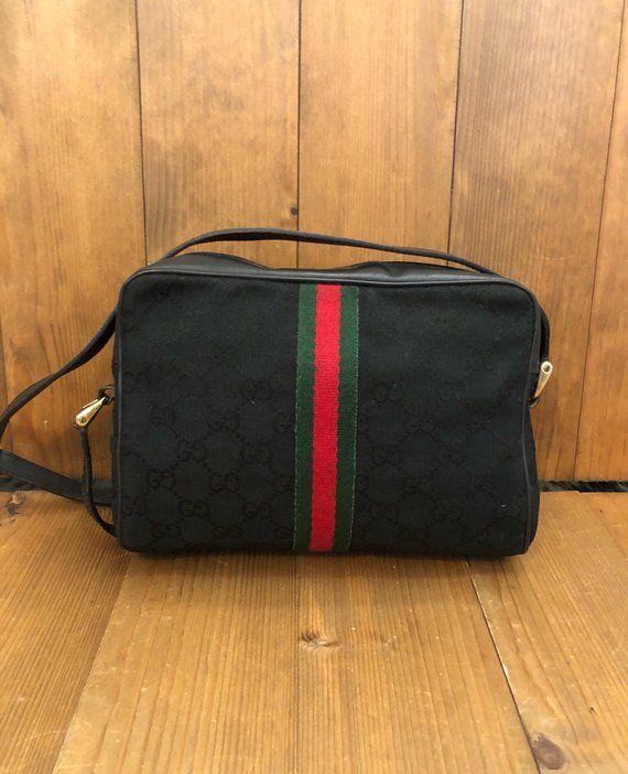 308dee1b173 Authentic GUCCI Web Black GG Monogram Jacquard Crossbody Bag ...