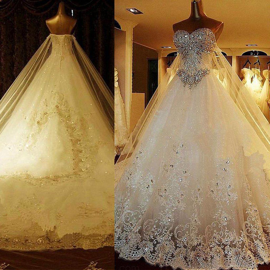 Rhinestone wedding dresses  Luxury Tulle Sweetheart ALine Wedding Dresses With Sequined Lace