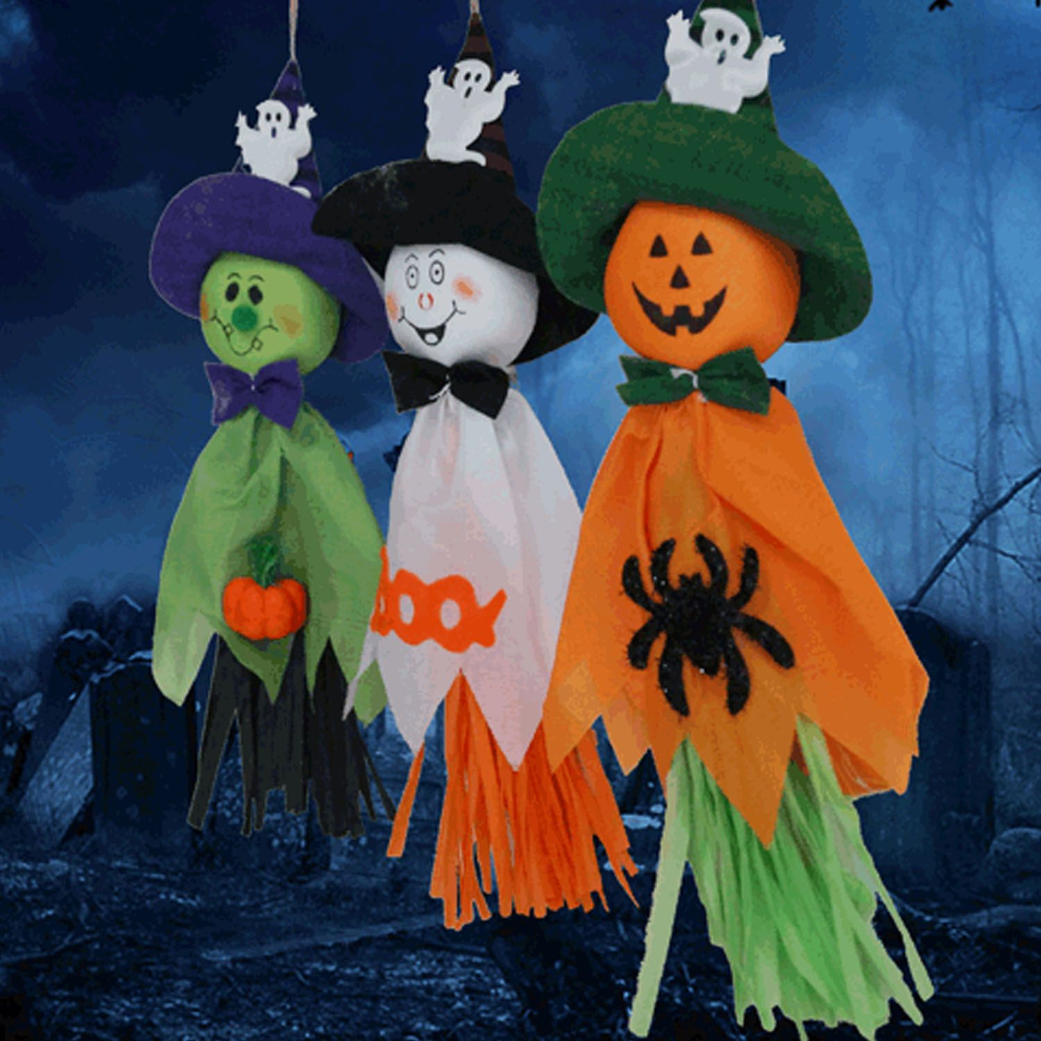 TAOS 3 PCS 3 Styles Vivid Styling Halloween Hanging Ghost Haunted - halloween house decoration