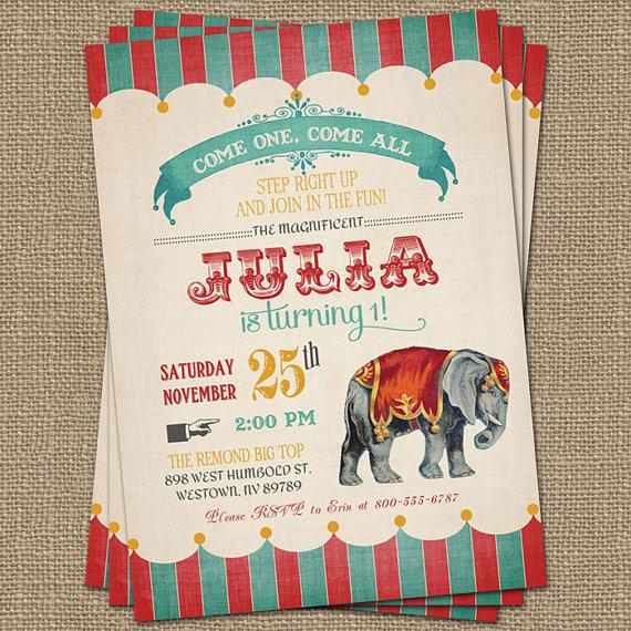 vintage circus geburtstag einladung zirkus von, Einladungen