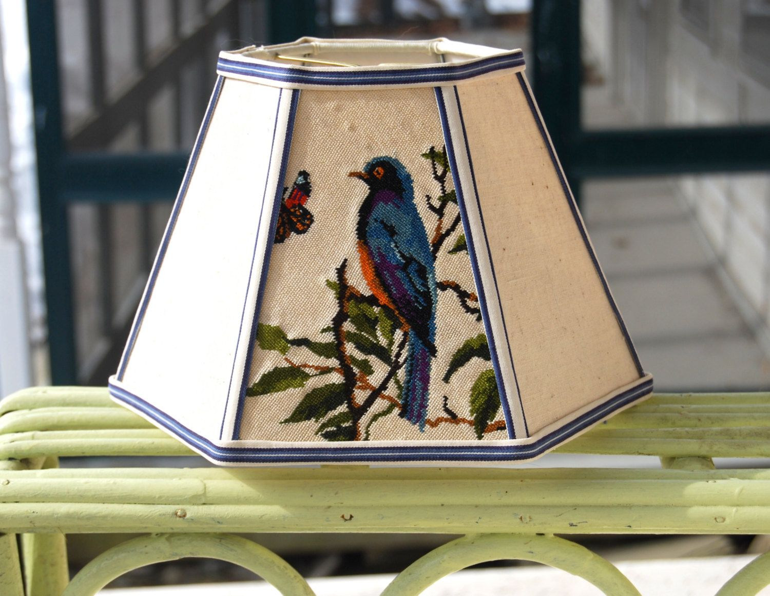 Reserved for rebecca blue bird lamp shade needlepoint lampshade blue bird lamp shade needlepoint lampshade vintage french petit point needlepoint 5x10x7 hex clip mozeypictures Choice Image