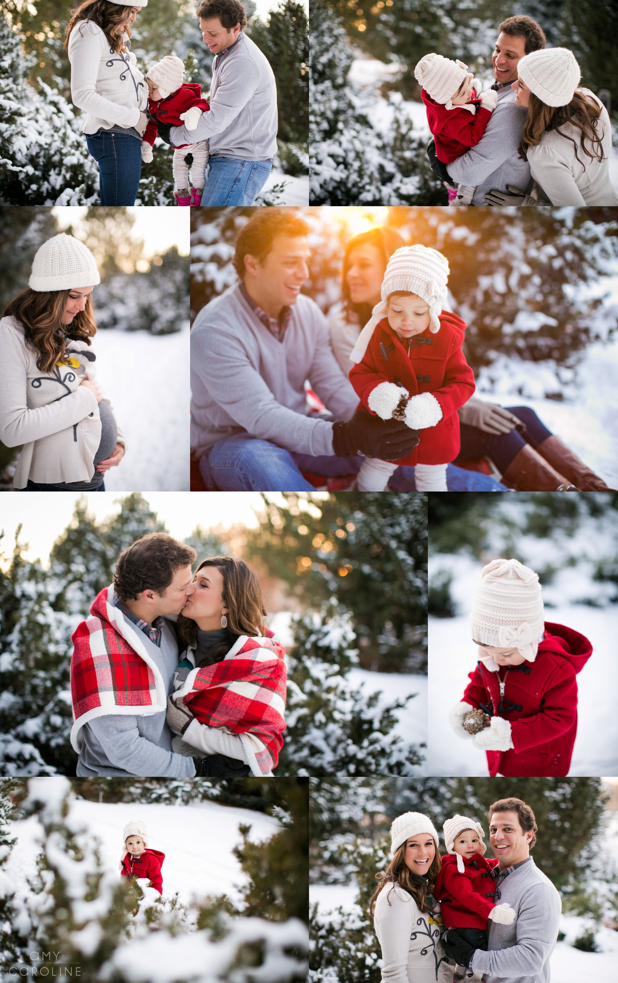 Colorado Christmas Snow Family Pictures. Littleton Colorado winter family pictures. Snowy maternity pictures. Winter Family photos. Amy Caroline Photography. #winterfamilyphotography
