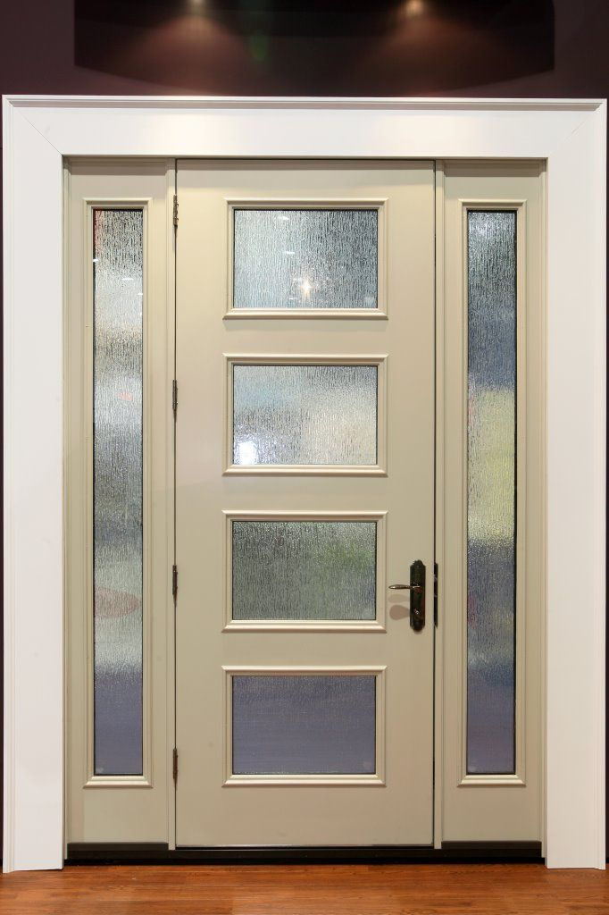 Furnitures ivory single entrance door with framed for Exterior back door with window