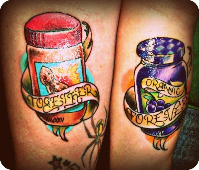 pbnj couple tattoo fresh picture and over exposed sorry together forever peanut butter. Black Bedroom Furniture Sets. Home Design Ideas