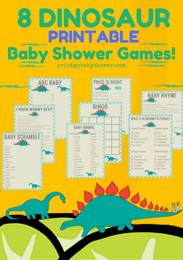 Dinosaur Baby Shower Printable Games Baby shower