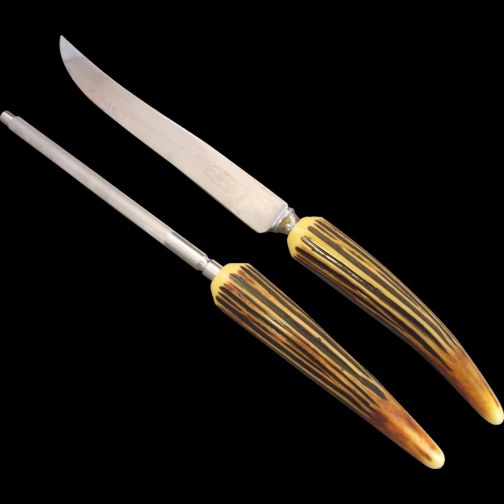 Bakelite horn handle carving knife sharpening steel crown
