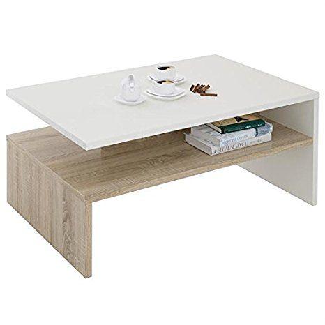 Table Basse Chene Sonoma.Table Basse De Salon Adelaide Mdf Melamine Blanc Et Chene