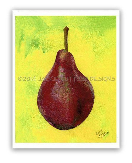 Pear art 8 x 10 Giclee print Red pear by JackieGuttusoDesigns