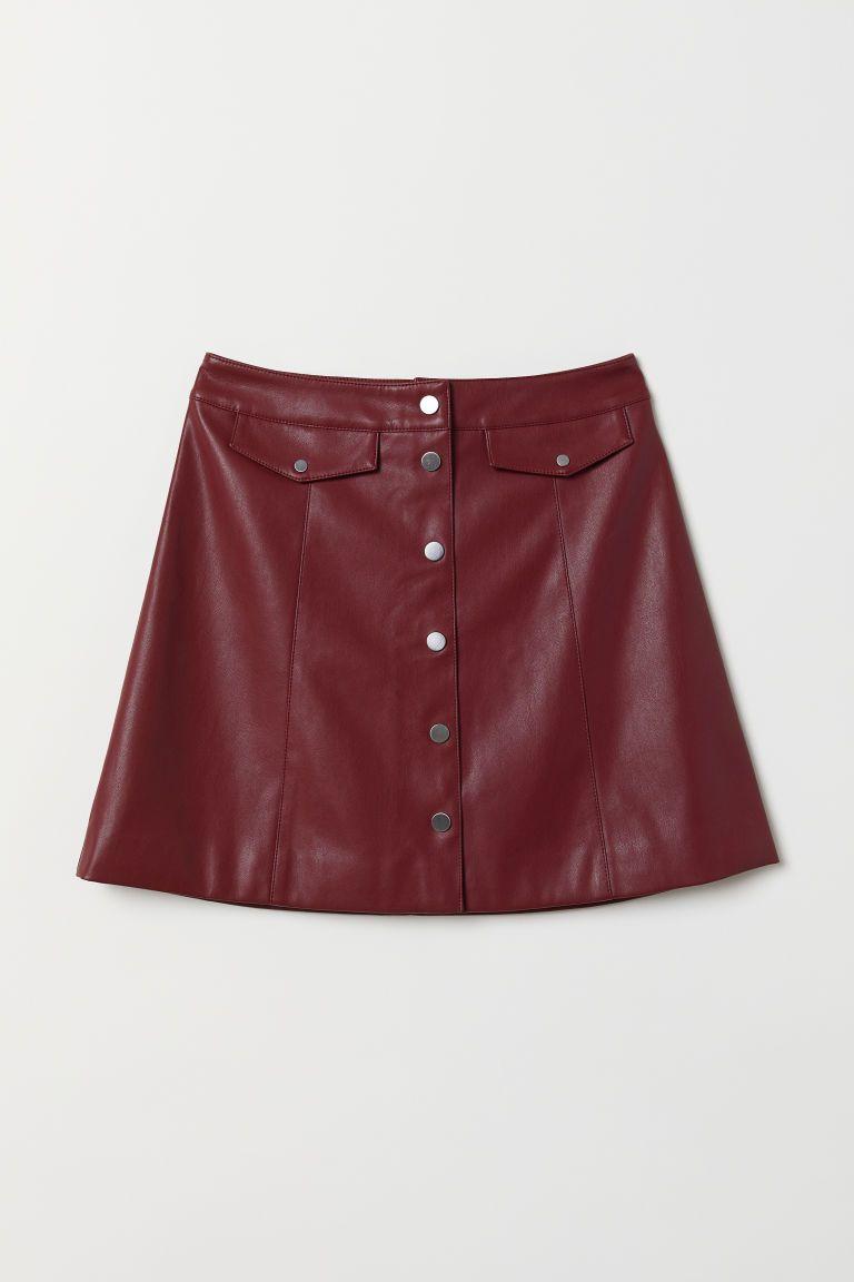 A-linjeskuren kjol - Vinröd - DAM  befa50371693d