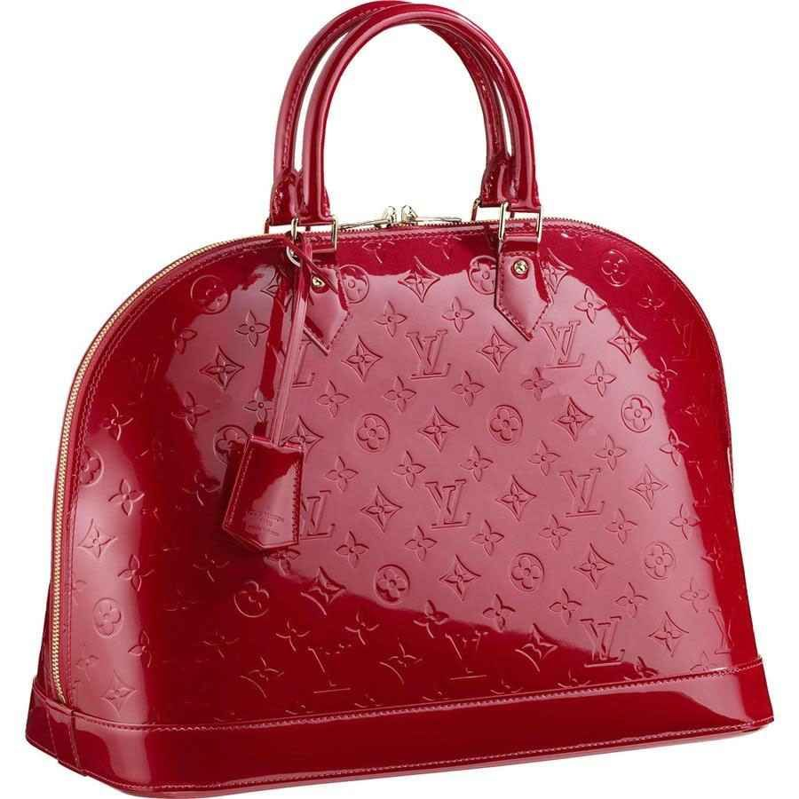 Red Leather Handbag Louis Vuitton