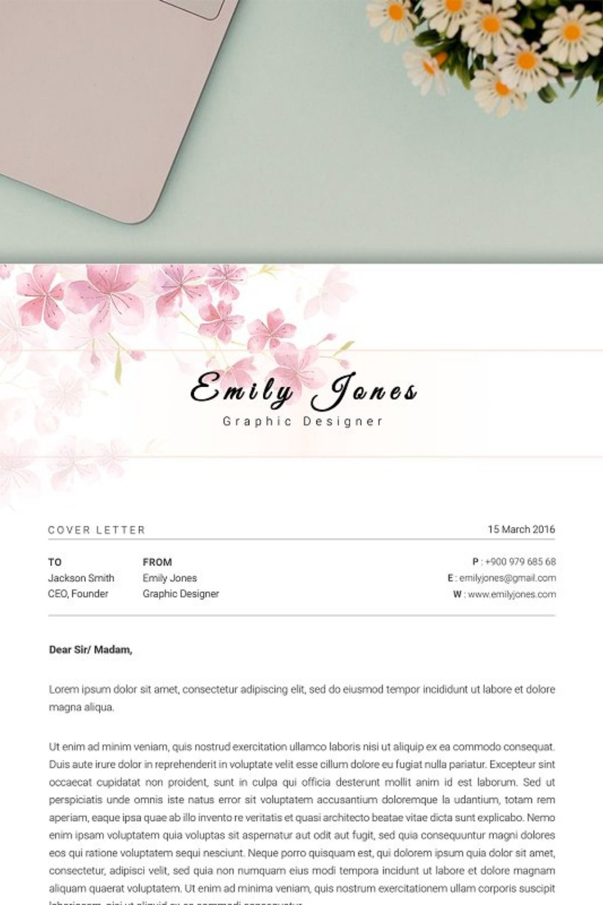 2 page resume coverletter template with images