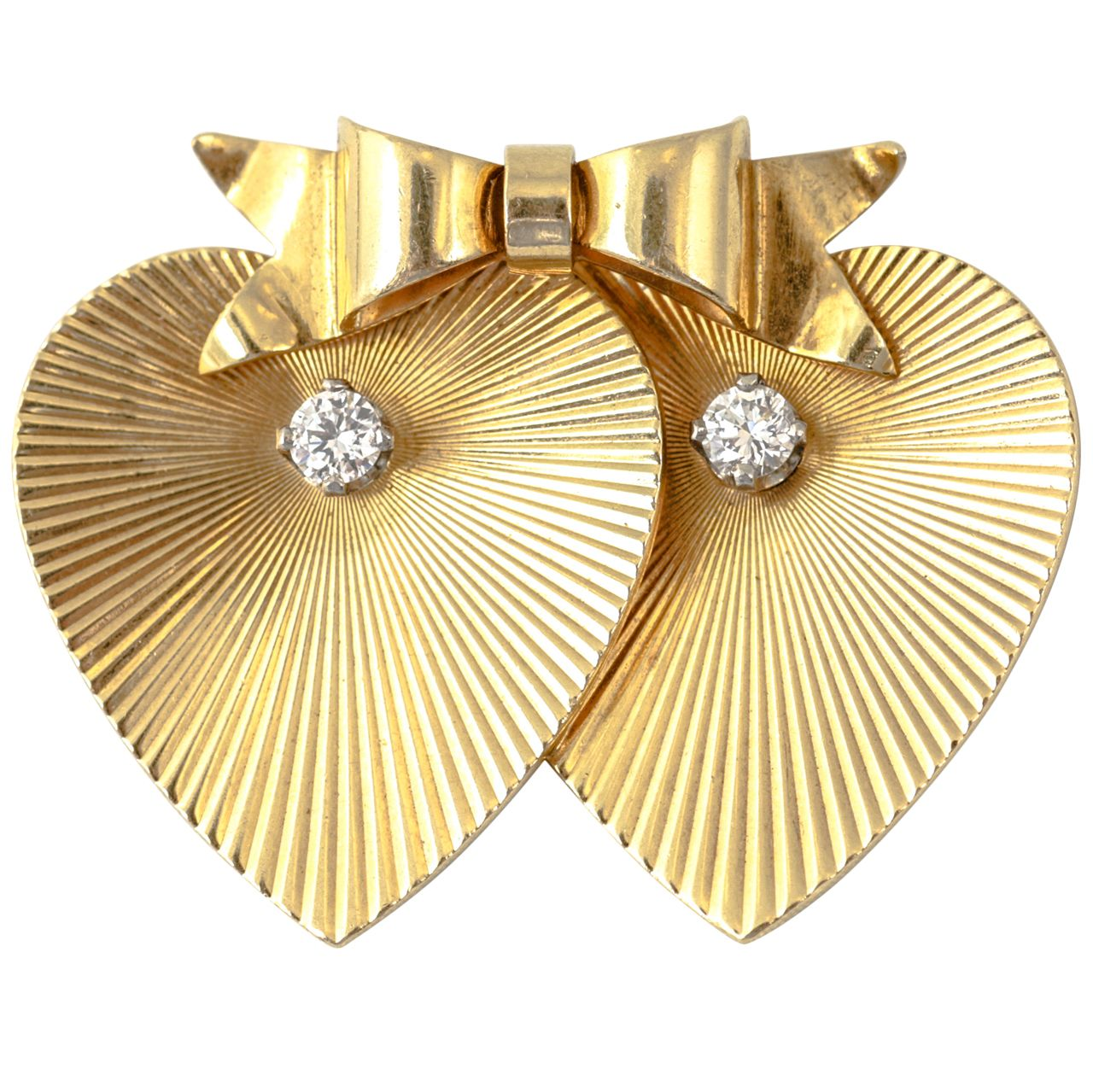 Tiffany & Co. Double Heart Diamond Gold Brooch | 1stdibs.com