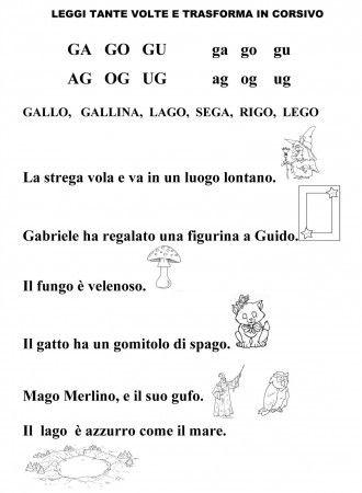 Lettura ga go gu classe prima schede didattiche schede for Parole con ga go gu