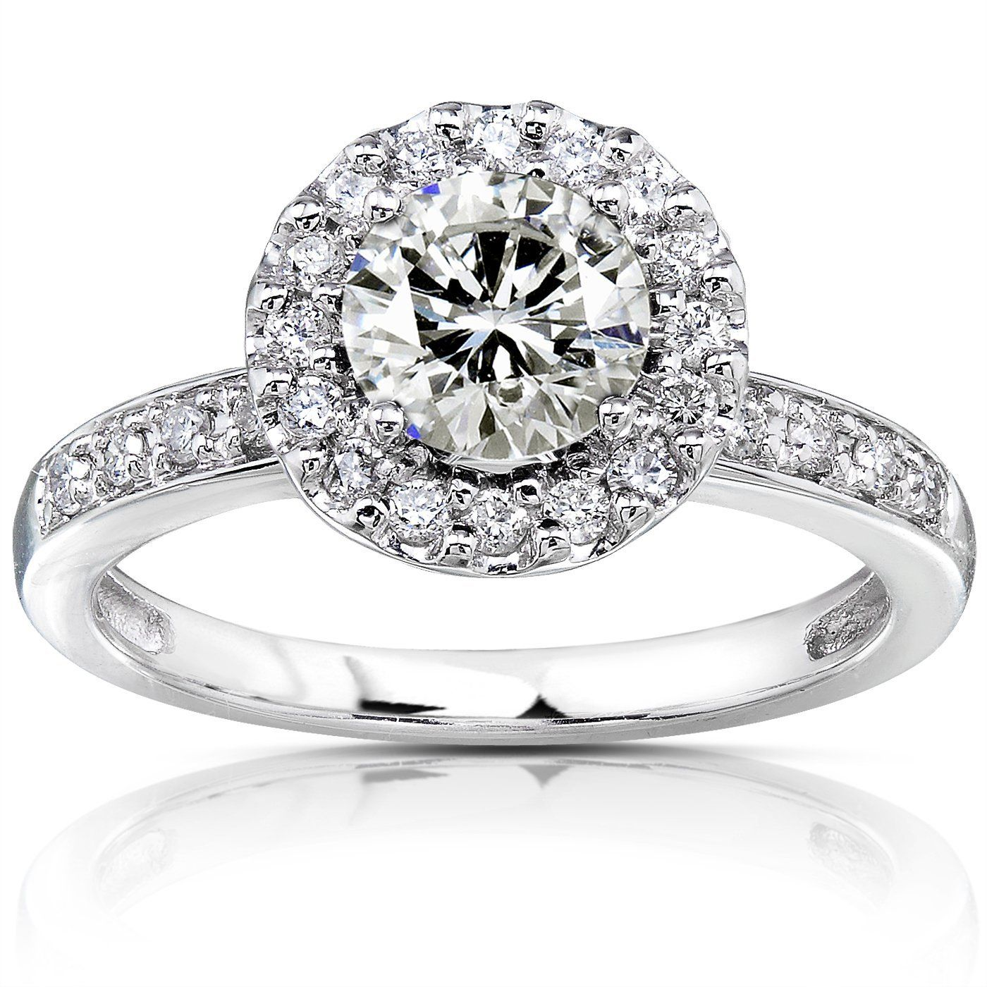 14k white gold round pave diamond engagement ring - here's a very