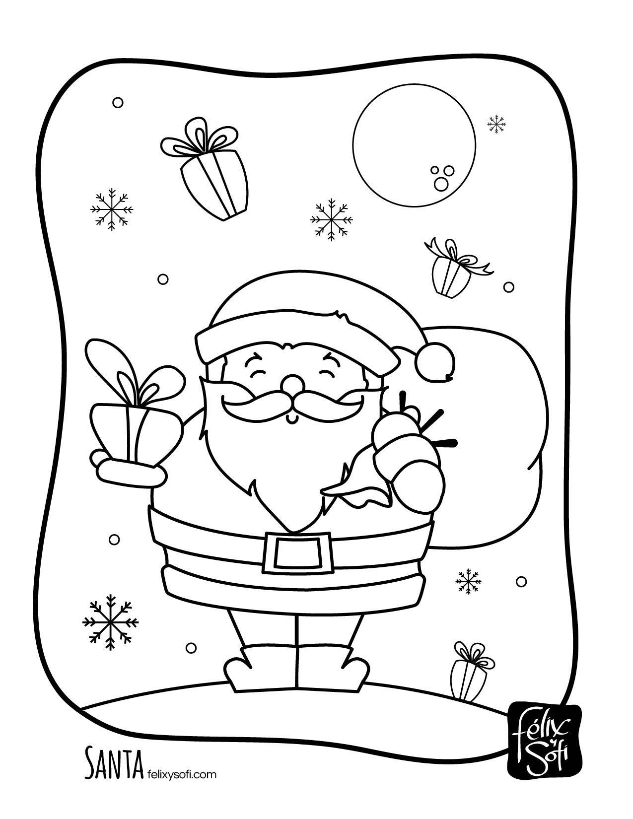 Santa para Colorear Gratis en felixysofi.com #felixysofi #color ...