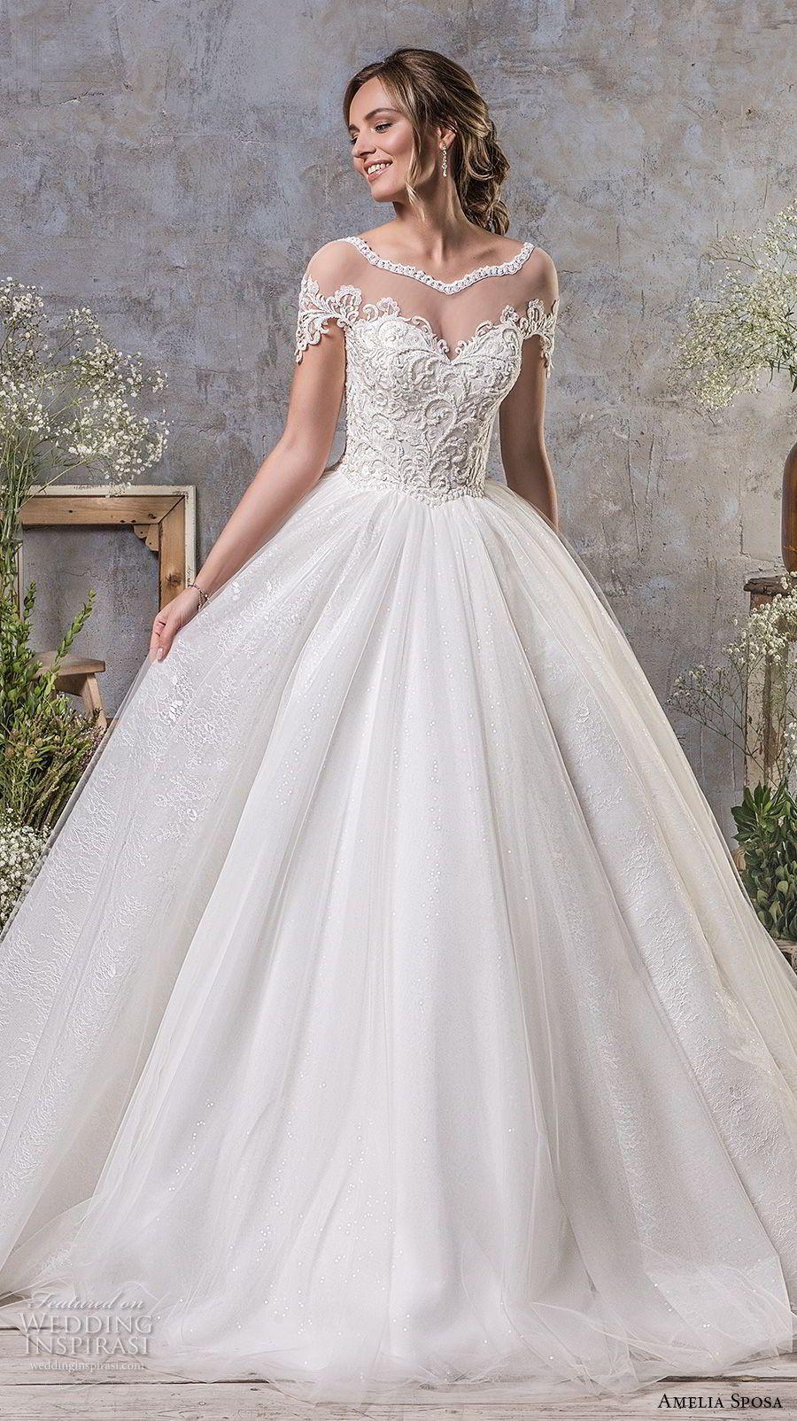 Amelia sposa fall bridal short sleeves illusion bateau